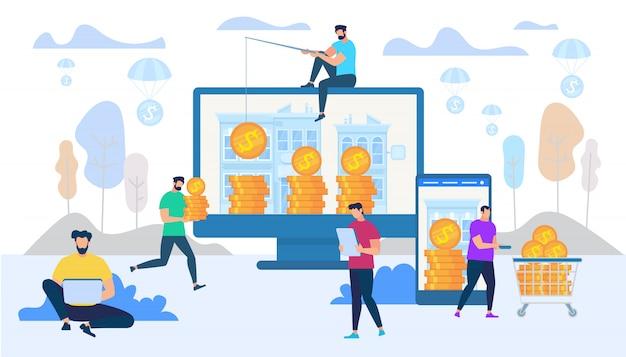 Verdienen en geld uitgeven in internetconcept