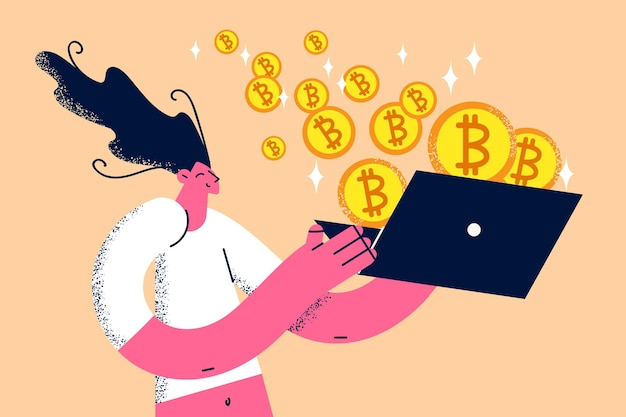 Verdienen en werken met bitcoins concept. jonge lachende vrouwelijke stripfiguur kijken naar laptop scherm met vliegende hopen bitcoins crypto uit het vectorillustratie