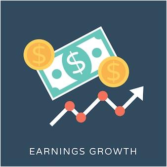 Verdienen groei platte vector icon