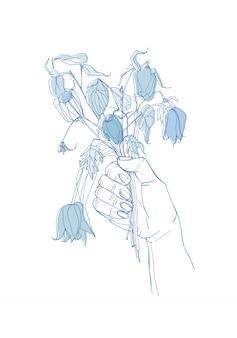 Verdorde bloemen in haar hand, weg gevoel concept. hand getekende illustraties