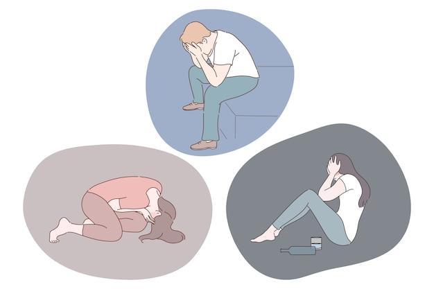 Verdriet, mentale depressie, verdrietconcept. jonge, ongelukkige depressieve mensen die gezichten bedekken met handen