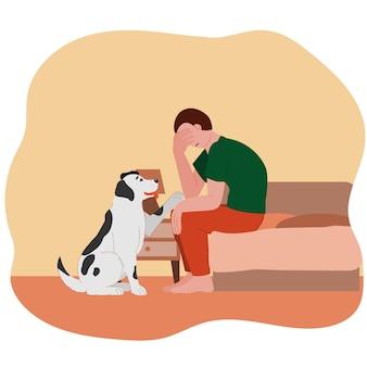 Verdrietig depressief vermoeide man met een hond verdrietige jongen met een puppy geestelijke gezondheid zelfliefde verveeld zitten