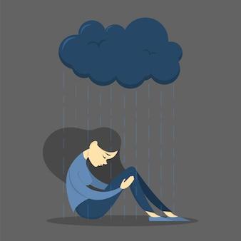 Verdrietig meisje in depressie. vrouw in verdriet. rouw
