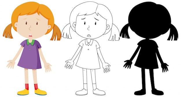 Verdrietig meisje met zijn omtrek en silhouet