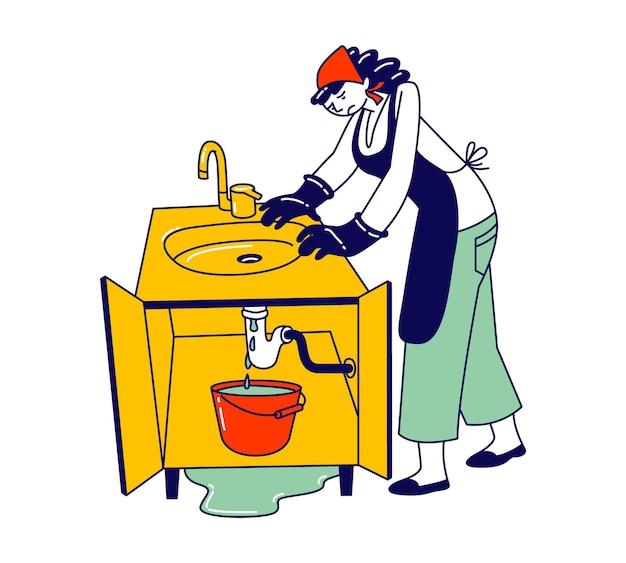 Verdrietige huisvrouw in schort en handschoenen heeft loodgieterswerk nodig hulp bij gebroken gootsteenpijp ongeval in keuken. cartoon vlakke afbeelding