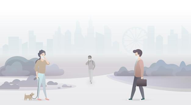 Verdrietige mensen hebben last van luchtvervuiling en dragen beschermende maskers. industriële smog stad achtergrond