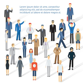 Verdringende groep mensen, mannen en vrouwen. concept van samenwerking en teamwerk.