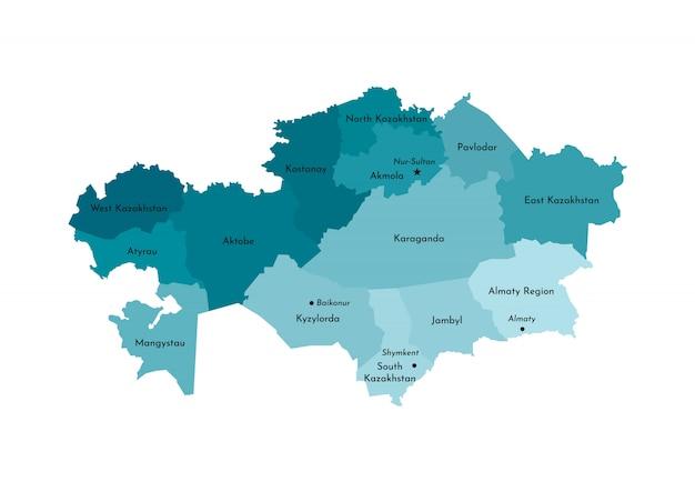 Vereenvoudigde administratieve kaart van kazachstan