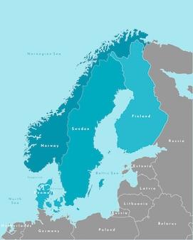 Vereenvoudigde politieke kaart van scandinavische en noord-europese landen in blauwe kleuren en dichtstbijzijnde gebieden in grijs.