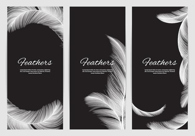 Veren banners sjabloon. realistische witte zwaan vallende veren achtergrond