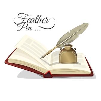Veren pen en inktpot op open boek geïsoleerd op wit. inktpot met schrijfgereedschap in retrostijl in realistisch ontwerp, leerboek en inktstel