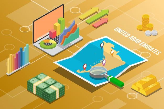 Verenigd arabische emiraten isometrische economie van bedrijfsgroei land