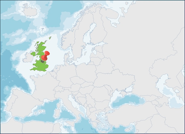 Verenigd koninkrijk locatie op kaart van europa