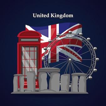 Verenigd koninkrijk plaatsen vlag