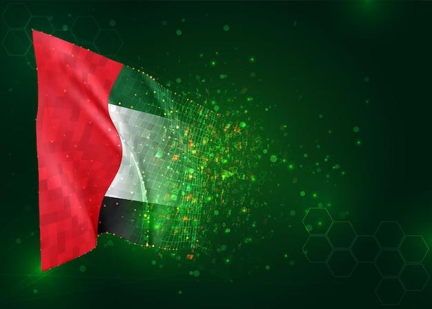 Verenigde arabische emiraten, 3d-vlag op groene achtergrond met polygonen
