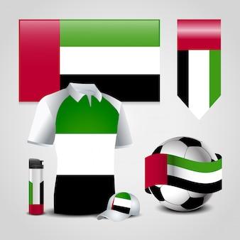 Verenigde arabische emiraten vlag ontwerp pictogrammen instellen vector