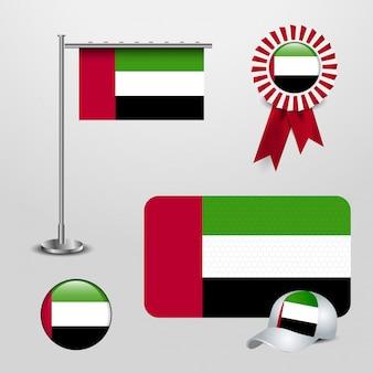 Verenigde arabische emiraten vlag ontwerp pictogrammen instellen