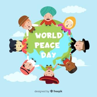 Verenigde kinderen hand in hand over de hele wereld