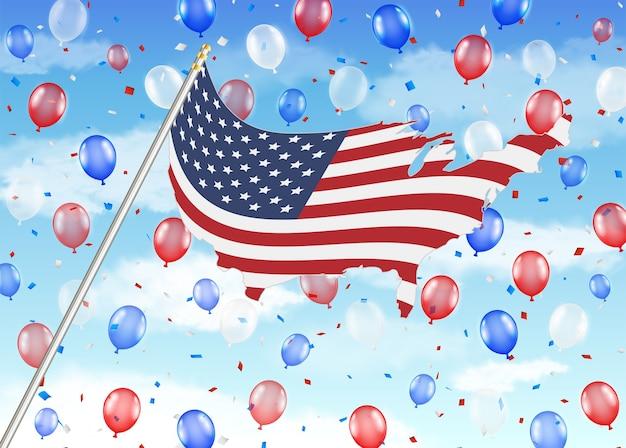 Verenigde staat van amerika vlag ballon met lucht