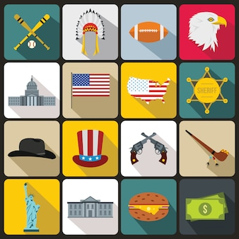 Verenigde staten icons set, vlakke stijl