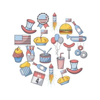 Verenigde staten onafhankelijkheidsdag gerelateerde pictogrammen in de vorm van de cirkel