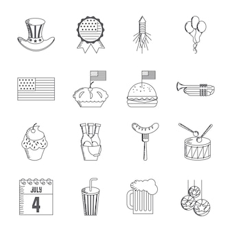 Verenigde staten onafhankelijkheidsdag gerelateerde pictogrammen