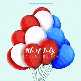 Verenigde staten onafhankelijkheidsdag met aquarel ballonnen
