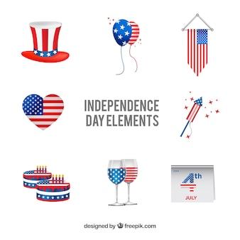 Verenigde staten onafhankelijkheidsdag platte elementenverzameling