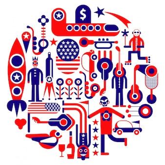 Verenigde staten ronde illustratie
