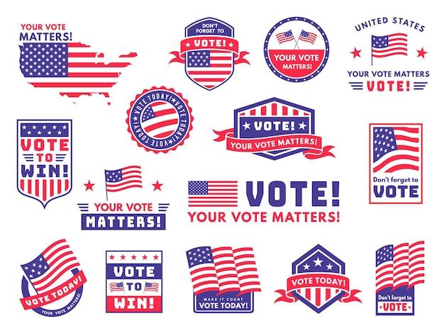 Verenigde staten stemmen etiketten ontwerpen illustratie