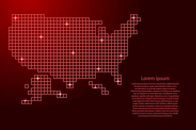 Verenigde staten, usa kaart silhouet van rode mozaïek structuur pleinen en gloeiende sterren. vector illustratie.