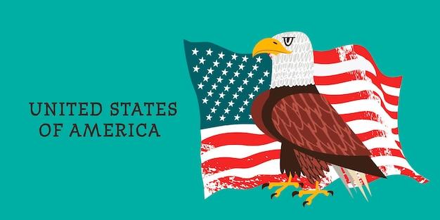 Verenigde staten van amerika. bald eagle op de achtergrond van de amerikaanse vlag.