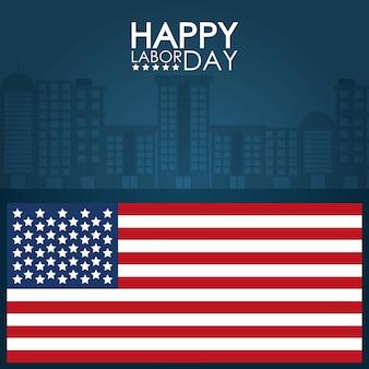 Verenigde verklaarde vlag over cityscape