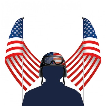 Verenigde vlag met soldaat en helm