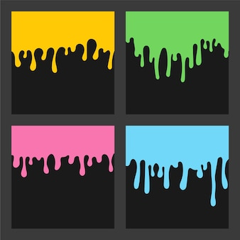 Verf druipende achtergrond kleurrijke set