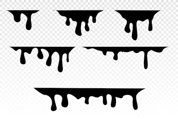 Verf druipt. druipende vloeistof. stroom van verf. huidige verf, vlekken. de stroom valt. inktstroom. vectorkleurenillustratie gemakkelijk te bewerken. transparante achtergrond.