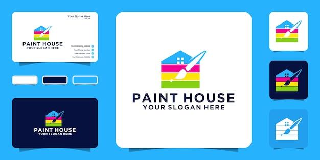Verf huis logo ontwerp inspiratie en borstels sjabloon en visitekaartje ontwerp