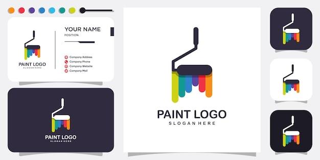 Verf logo abstract met modern concept premium vector