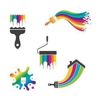 Verf logo template vector pictogram illustratie ontwerp