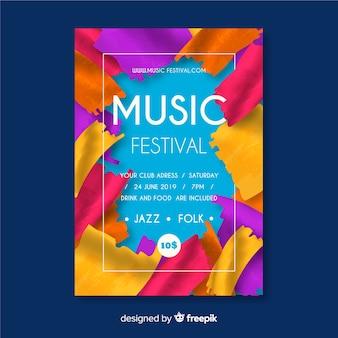 Verf muziek festival poster sjabloon