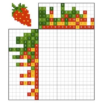 Verf op nummer puzzel (nonogram), educatief spel voor kinderen, aardbei