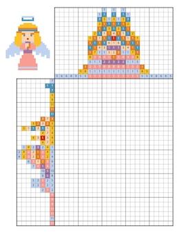 Verf op nummer puzzel (nonogram), educatief spel voor kinderen, angel
