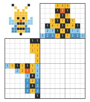 Verf op nummer puzzel (nonogram), educatief spel voor kinderen, bee