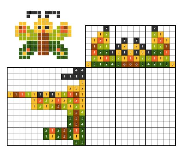 Verf op nummer puzzel (nonogram), educatief spel voor kinderen, butterfly