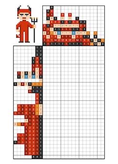 Verf op nummer puzzel (nonogram), educatief spel voor kinderen, duivel