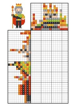 Verf op nummer puzzel (nonogram), educatief spel voor kinderen, king