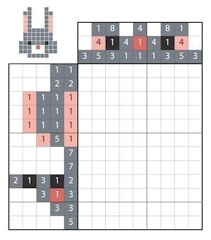 Verf op nummer puzzel (nonogram), educatief spel voor kinderen, konijn