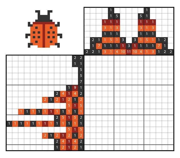Verf op nummer puzzel (nonogram), educatief spel voor kinderen, lieveheersbeestje