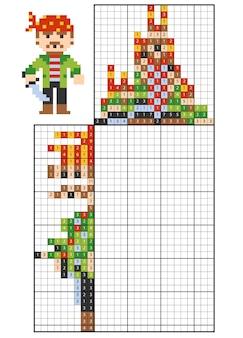 Verf op nummer puzzel (nonogram), educatief spel voor kinderen, pirate