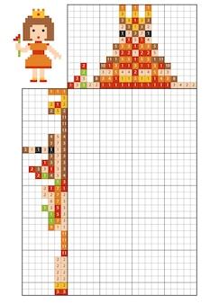 Verf op nummer puzzel (nonogram), educatief spel voor kinderen, prinses